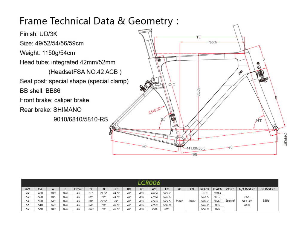 LCR006 road frame geometry